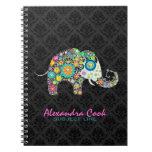Black Damasks Colorful Floral Elephant Notebooks