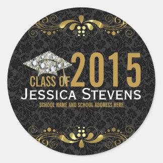 Black Damasks Faux Gold Lace & Diamonds Grad Hat Classic Round Sticker