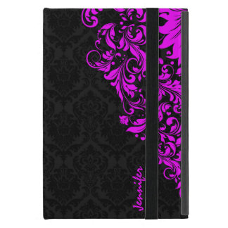 Black  Damasks & Hot Pink Floral Lace Cases For iPad Mini