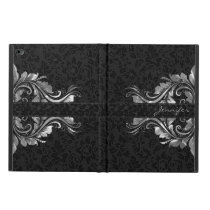 Black Damasks Metallic Silver Floral Lace Powis iPad Air 2 Case