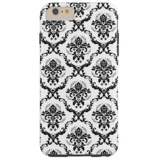 Black Damasks Over White Changeable Background Tough iPhone 6 Plus Case