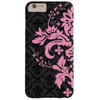 Black Damasks Pink Lace Ornament Barely There iPhone 6 Plus Case