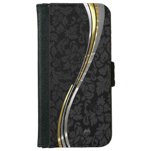 Black Damasks Silver & Gold Accents iPhone 6 Wallet Case
