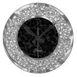 Black Damasks Sparkling Diamonds Glitter-Monogram Wall Clocks