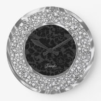 Black Damasks Sparkling Faux Diamonds Glitter Large Clock