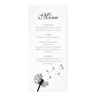 Black Dandelion Wedding Menu