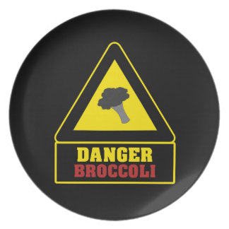 Black Danger Broccoli Party Plate