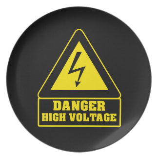 Black Danger High Voltage Party Plate