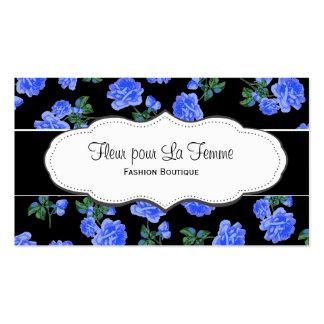 Black & Dark Blue Flower Pattern Business Cards