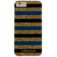 Black, Dark Blue & Gold Glitter, Personalized Barely There iPhone 6 Plus Case