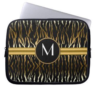 Black Dark Gold Zebra Print Monogram Laptop Sleeve