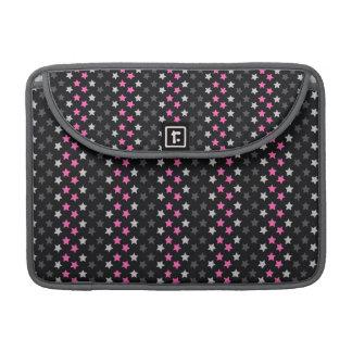 Black, Dark Gray, Light Pink Stars Sleeves For MacBook Pro