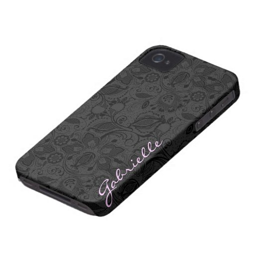 Black & Dark Gray Monotones Vintage Floral Lace iPhone 4 Covers
