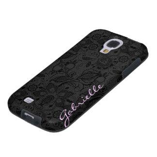 Black & Dark Gray Monotones Vintage Floral Lace Galaxy S4 Case
