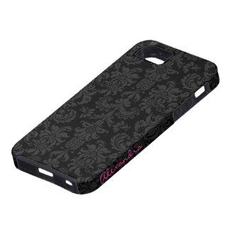 Black & Dark Gray Vintage Floral Damasks iPhone 5 Case