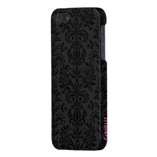 Black & Dark Gray Vintage Floral Damasks iPhone SE/5/5s Case