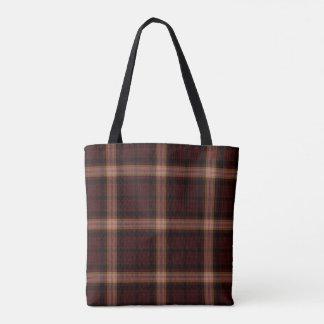 Black Dark Maroon Red Tartan Plaid Tote Bag