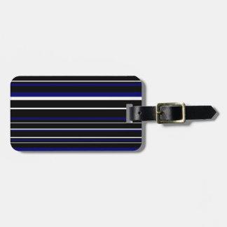 Black, Dark Navy Blue, White Barcode Stripe Travel Bag Tags