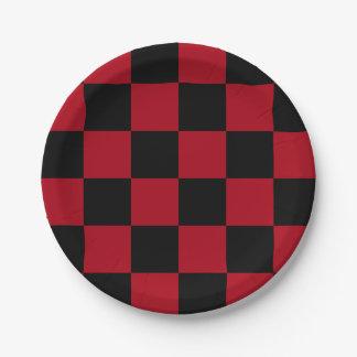 Black/Dark Red Checkered 7 Inch Paper Plate