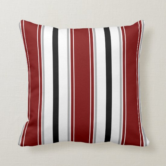 Black Dark Red Gray White Vertical Stripes Pattern Throw Pillow