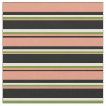 [ Thumbnail: Black, Dark Salmon, Green & Beige Lined Pattern Fabric ]
