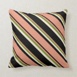 [ Thumbnail: Black, Dark Salmon, Green & Beige Lined Pattern Throw Pillow ]