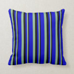 [ Thumbnail: Black, Dark Sea Green, and Blue Colored Lines Throw Pillow ]