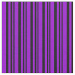[ Thumbnail: Black & Dark Violet Colored Striped/Lined Pattern Fabric ]