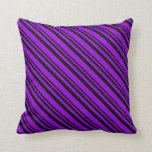 [ Thumbnail: Black & Dark Violet Colored Striped/Lined Pattern Throw Pillow ]