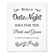 Black Date Night Ideas Wedding Sign Photo Print