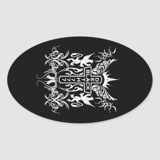 Black Death 777 - Cross Oval Sticker