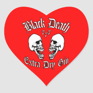 Black Death 777 - Extra Dry Gin Heart Sticker