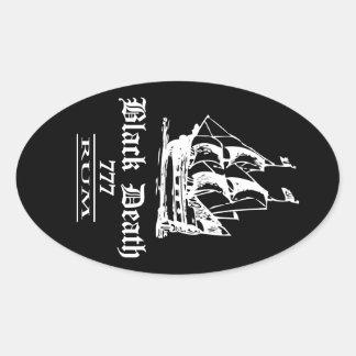 Black Death 777 - Ol Ships Rum Oval Sticker