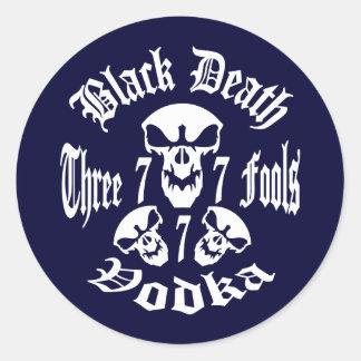 Black Death 777 - Three Fools Vodka Round Sticker