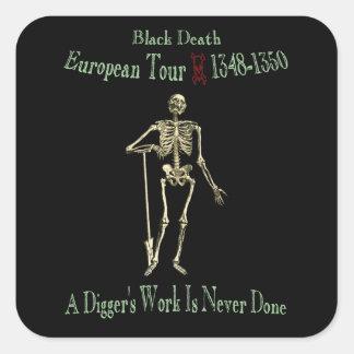 Black Death European Tour Olde Font Square Sticker