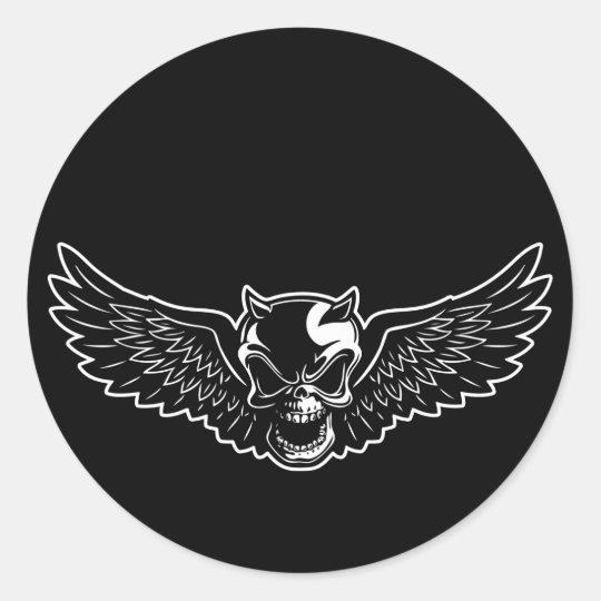 Black Death Skull Classic Round Sticker