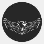 Black Death Skull Round Sticker