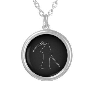 Black Death spooky figure Round Pendant Necklace