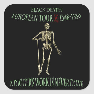 Black Death Tour Square Sticker Original Design