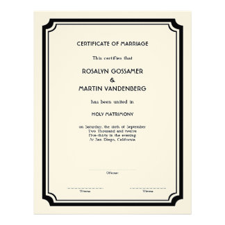 Black Deco frame keepsake edding certificate ecru Letterhead