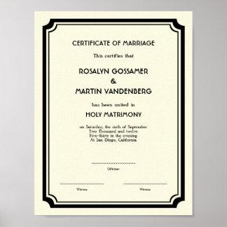 Black Deco frame keepsake wedding certificate ecru Poster