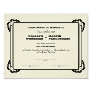 Black Deco frame keepsake wedding certificate ecru Posters