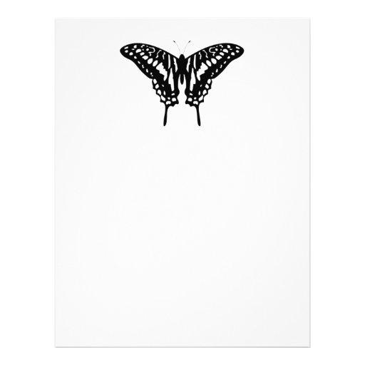 Black Decorative Butterfly Letterhead Design