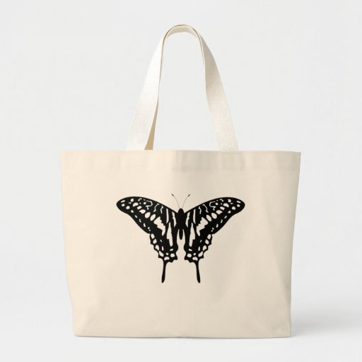 Black Decorative Butterfly Tote Bag