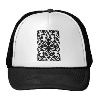 Black Decorative Damask Stamp w/ Botanical Pattern Trucker Hat