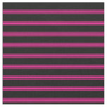 [ Thumbnail: Black & Deep Pink Colored Stripes/Lines Pattern Fabric ]