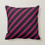 [ Thumbnail: Black & Deep Pink Colored Stripes/Lines Pattern Throw Pillow ]