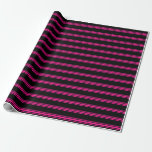 [ Thumbnail: Black & Deep Pink Colored Stripes/Lines Pattern Wrapping Paper ]