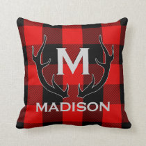 Black Deer Antlers Monogram Red Buffalo Check Throw Pillow
