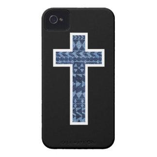 Black Denim Aztec Cross iPhone 4 Case-Mate Case